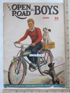 1939 vintage bicycle cover art for Open Road for Boys Magazine. Illustration of a boy on a bike with a dog in a fig box. Illustrator: Bruce Adams.