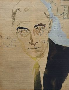 Illustration by Tine Berning of  J. Robert Oppenheimer