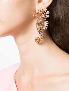 Achetez Oscar de la Renta encrusted seahorse earrings