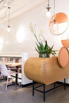 Light Touch: delicately-hued restaurant Nour Sydney delivers calming environ for its impressive Lebanese cuisine. Bar Interior, Restaurant Interior Design, Restaurant Concept, Cafe Restaurant, Cafe Design, House Design, Sydney Restaurants, Hospitality Design, Commercial Interiors
