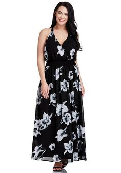 Plus Size Fashion // This plus size black floral-printed plunge maxi dress features a plunge neckline, back zipper for ease, elastic waistline to emphasize your curves, full lining and sleeveless detailing.