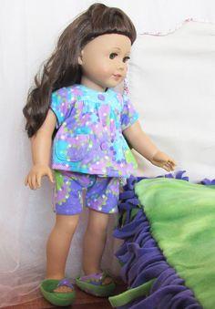 Turquoise/Purple/Green 18 Doll Pajama Set