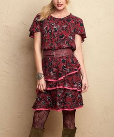 This Burgundy & Black Helena Dress - Women is perfect! #zulilyfinds