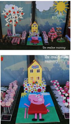 Peppa Pig birthday party buffet table cake