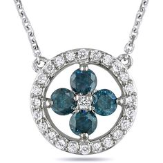 Ice 1/2 CT White Diamond 14k White Gold Necklace ($1,570) ❤ liked on Polyvore featuring jewelry, necklaces, women's accessories, blue jewelry, white gold diamond jewelry, blue necklace, white gold necklace and 14 karat gold necklace