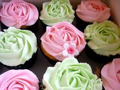 pink and green roses on top of cupcakes or cookies...great accent for garden party