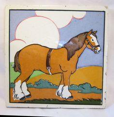 CARTER POOLE TILE ;  SHIRE HORSE   ;  DESIGNED by E. E. STRICKLAND