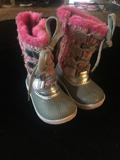 9807f6c665c04f Toddler Girls Ozark Trail Gray N Pink Winter Boots Size 5  fashion  clothing