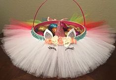 Items similar to Rainbow Unicorn Easter Basket - queen- Princess- rainbow - unicorn- turquoise Tulle Bow - easter Bow on Etsy Unicorn Gifts, Unicorn Party, Easter Crafts, Holiday Crafts, Easter Gift Baskets, Easter Basket Ideas, Diy Ostern, Party Decoration, Easter Celebration