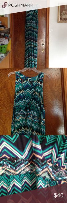 INC 3X Maxi Dress Mint condition maxi dress by INC 3X. sequined empires waist. Main colors are navy, teal green, black, tan and oatmeal accents. See picture for details. INC International Concepts Dresses Maxi