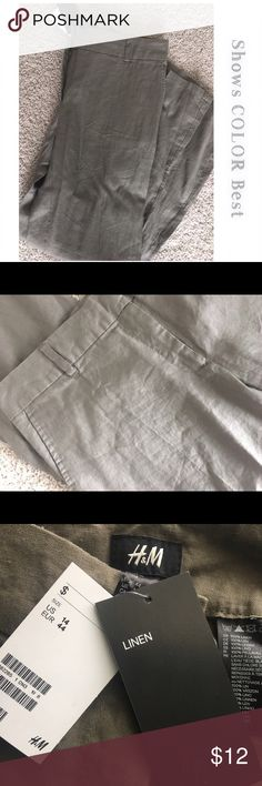 🌟 HM Linen Pants Color: Taupe/Gray. Maybe a very slight green however the first pic shows it best!! 100% Linen and New With Tags.                                                   ✨Top Rated Seller ✨ 💨 Fast Shipping Times 💨 💕Quick Responses 💕 ✅ Great Items ✅ 🛍 Awesome Bundle Deals 🛍 😃Thanks For Visiting! 😃 H&M Pants Boot Cut & Flare