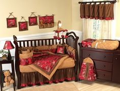Oriental Garden Asian Baby Bedding - 9 pc Brocade Crib Set