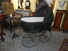 antiker Kinderwagen um 1890 Porzellangriff, gr. Speichenräder, tolle Deko | eBay