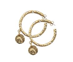 PAVIA GOLD HOOP WITH CRYSTALS & DANGLING COIN