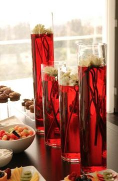 bridal style and wedding ideas: Cold Wedding With Snow Red Centerpieces Ideas Water Centerpieces, White Centerpiece, Wedding Centerpieces, Centrepieces, Cold Wedding, Dream Wedding, Gothic Wedding, True Blood Party, Vampire Party