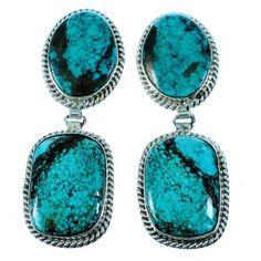 Navajo Genuine Sterling Silver Turquoise Jewelry Post Dangle Earrings