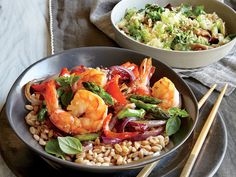 Time: 30 minutes  Slurrify: Stirring a cornstarch-based mixtures into a hot stir-fry will thicken the sauce nicely and help it cling to the vegetables.  Serve with Sesame Cabbage and Mushrooms View Recipe: Shrimp and Asparagus Stir-Fry