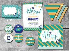 Nautical Baby Shower Ahoy It's A Boy   Printables Party Collection by ItsyBelle  #Anchors