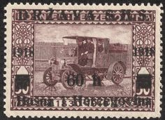 "1918 Scott 1L10 60h on 50h dull violet ""Postal car"" Stamps of Bosnia and Herzegovina"