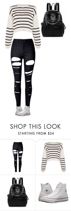 """Untitled #205"" by gwboobear ❤ liked on Polyvore featuring WithChic, Topshop and Converse"