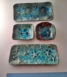 Raku decor surf art: handmade Tide Pool square dish starfish shell teal ocean designer pottery