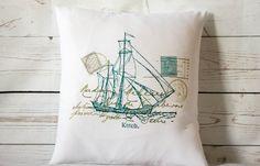 "Ketch  - 16"" Cushion Pillow Cover Coastal/Nautical Shabby Vintage Chic - UK Handmade"