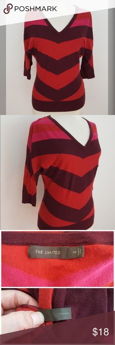 Striped V Neck Sweater Beautiful sweater from The Limited. Maroon, red and pink modified stripe pattern. 3/4 sleeves.  Size small, measurements: Sleeve length Armpit to armpit  Length  #thelimited #maroon #red #pink #sweater #vneck #thelimited #xs #extrasmall #vnecksweater #rachelboncek The Limited Sweaters V-Necks