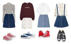"""jean skirts & converse"" by contrerasyoli on Polyvore featuring Oasis, Monki, Topshop, Balmain and Converse"