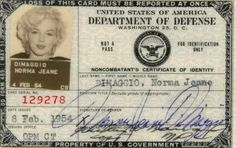 "Norma Jeane Dimaggio's Department of Defence ID: ""This piece appears to be the actual one that Monroe used when she performed for the troops in Korea while she and Joe DiMaggio were on their honeymoon."" - Bonhams via Retronaut"