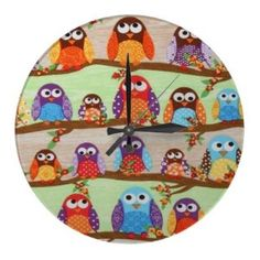funky owl pictures   Funky Owls Fancy Wall Clock review at Kaboodle