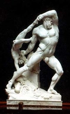 Heracles and Lichas, Antonio Canova, 1796. Heracles is throwing him into the sea.