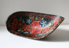 Floral Mexican Wood Bowl by boxofhollyhocks on Etsy