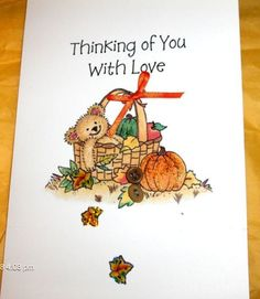 Thanksgiving Teddy Card  Handmade by SouthamptonCreations on Etsy, $2.75