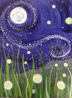 """@PaintNite 18Jul2015 """"Always be on the lookout for the presence of #wonder."""" ~ E.B. White (Painting: Firefly Me to the Moon)"""