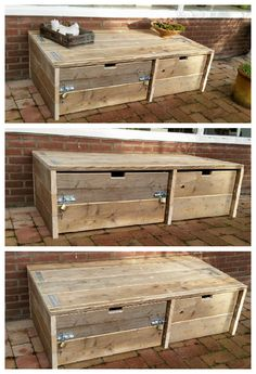 Storage cabinet made of recycled scaffolding wood and pallet wood, which can also be used as a small lounge sofa. With 2 large drawers on coasters.       #Outdoor, #PalletCabinet, #RecycledPallet