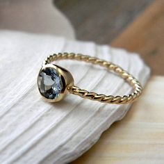 Items similar to Ready To Ship Size 7.5, Blue Aquamarine and 14k Yellow Gold Ring, on Etsy