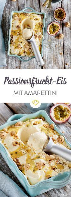 Maracuja oder Passionsfrucht? Egal unter welchem Namen, in selbstgemachtem Eis mit süßem Amarettini-Crumble macht sich die exotische Tropenfrucht immer gut.
