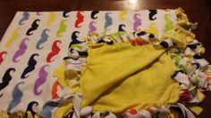 Mustache blanket,  no sew fleece tie blanket