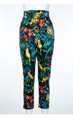 Laura Byrnes- High-Waisted Cropped Trousers in Parrot Print | Pinup Girl Clothing