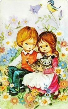 Vintage Children's Books, Vintage Comics, Vintage Cards, Vintage Postcards, Gif Animé, Illustrations And Posters, Children's Book Illustration, Fabric Painting, Animals For Kids
