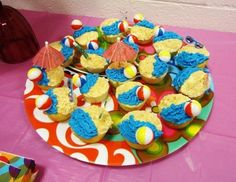 Indoor Pool Party Ideas i Another Tray Of Beachpool Party Cupcakesjust Thought Yall Would Like Another View