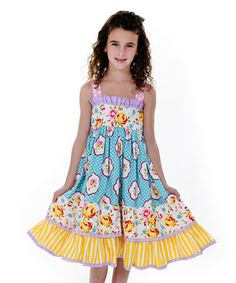 Blue & Yellow Maiden Collection Sassy Dress - Toddler & Girls