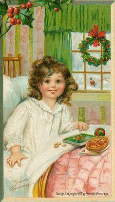 1910 Frances Brundage Christmas Postcard