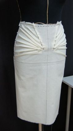 Draping on the Stand - tailored skirt with radial pleats - fashion design couture techniques; dressmaking; fabric manipulation; sewing