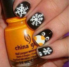 Uñas navidad, pingüinos