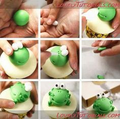 Лягушка, frog,Frosch,žába,rana - Страница 5 - Мастер-классы по украшению тортов Cake Decorating Tutorials (How To's) Tortas Paso a Paso Fimo Clay, Polymer Clay Projects, Polymer Clay Art, Cake Topper Tutorial, Fondant Tutorial, Fondant Animals, Clay Animals, Frog Cupcakes, Cupcake Cakes