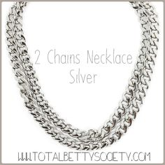 2 Chains Necklace - Silver  #silver #necklace #jewelry #shopping #gift #giftidea #womangiftidea #girlfriendgift #holidaygift #holiday #christmaspresent #present