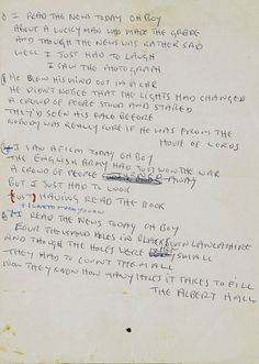 John Lennon's hand written lyrics for 'A Day in the Life' sold for $1.2m in 2010.