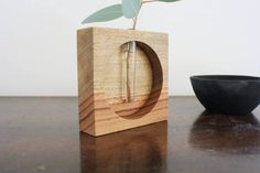 Wooden vase square test tube vase table top vase vase