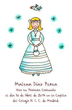 recordatorio primera comunion niña con vestido vintage y estrellitas